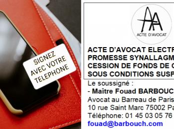Vente de fonds de commerce : Acte d'avocat électronique